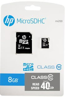 Best price on HP 8GB Class 10 MicroSDHC 40MB/s Memory Card (With Adapter) in India