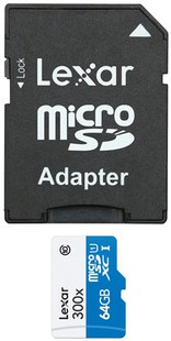 Best price on Lexar 300x 64GB MicroSDXC Class 10 Memory Card (With Adapter) in India