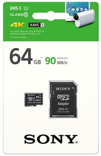 Best price on Sony 64GB MicroSDXC Class 10 (90MB/s) UHS-I Memory Card (With Adapter) in India
