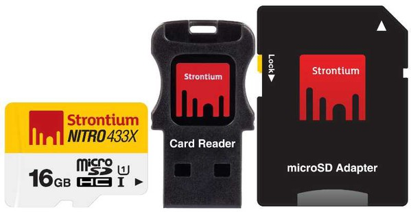 Best price on Strontium Nitro 16Gb Class 10 MicroSDHC UHS-1 (With Card reader & MicroSD Adapter) in India