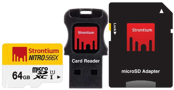 Best price on Strontium Nitro 64Gb Class 10 MicroSDHC UHS-1 (With Card reader & MicroSD Adapter) in India