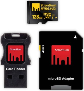Best price on Strontium Nitro plus 128 GB MicroSDXC UHS Class 1 70 MB/s Memory Card in India