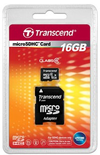 Transcend 16GB MicroSDHC Class 6 Memory Card(With Adapter)