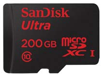 Best price on SanDisk Ultra 200GB MicroSDXC Class 10 (90MB/s) UHS-1 Memory Card (With Adapter) in India
