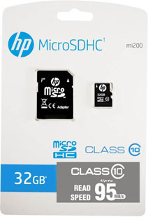 Best price on HP 32 GB MicroSDHC Class 10 (95Mb/s) Memory Card (With Adapter) in India