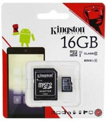 Best price on Kingston 16GB MicroSDHC Class 10 (80MB/s) Memory Card (With Adapter) in India