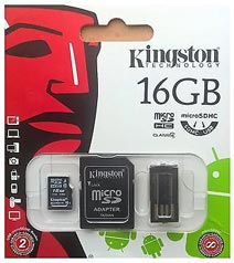 Best price on Kingston 16GB MicroSDHC Class 4 Memory Card in India