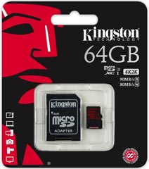 Best price on Kingston 64GB MicroSDXC Class 10 (90MB/s) Memory Card (With Adapter) in India