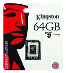 Best price on Kingston 64GB MicroSDXC Class 10 (10MB/s) Memory Card in India