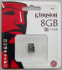 Kingston 8GB MicroSDHC Class 4 Memory Card (With Micro SD Card Reader)