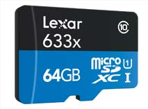 Best price on Lexar 633x 64GB MicroSDXC Class 10 (UHS-1) Memory Card (With Card Reader) in India