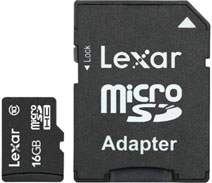 Best price on Lexar Mobile 16GB MicroSDHC Class 10 (10MB/s) Memory Card (With Adapter) in India