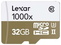 Best price on Lexar Professional 1000x 32GB MicroSDHC UHS-II/U3 (150MB/s) Memory Card (With USB 3.0 Reader) in India