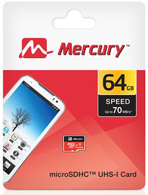 Best price on Mercury Ultra 64GB MicroSDHC Class 10 (70MB/s) Memory Card in India