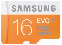 Best price on Samsung Evo 16GB MicroSDHC Class 10 (48MB/s) Memory Card (With SD Adapter) in India