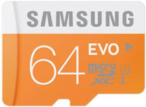 Best price on Samsung EVO 64GB MicroSDXC Class 10 (48MB/s) Memory Card (With SD Adaptor) in India