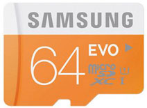 Best price on Samsung Evo 64GB MicroSDXC Class 10 (48MB/s) UHS-1 Memory Card in India