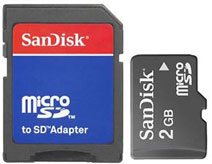SanDisk 2GB MicroSD Memory Card (With SD Adapter)