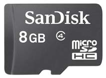 Best price on SanDisk 8GB MicroSDHC Class 4 (20MB/s) Memory Card in India