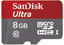 Best price on SanDisk Ultra 8GB MicroSDHC Class 10 (30MB/s) UHS-I Memory Card (With Adapter) in India