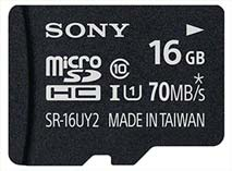 Best price on Sony 16GB MicroSDHC Class 10 (70MB/s) Memory Card in India