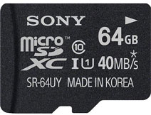Best price on Sony 64GB MicroSDXC Class 10 (40MB/s) UHS-1 Memory Card in India