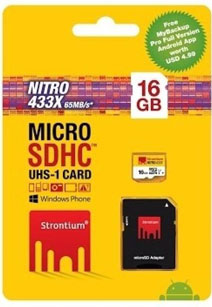 Best price on Strontium Nitro 433x 16GB MicroSDHC Class 10 (65MB/s) UHS-I Memory Card (With Adapter) in India