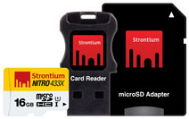 Best price on Strontium Nitro 433x 16GB MicroSDHC Class 10 USH-1 Memory Card (With Card Reader & Adapter) in India