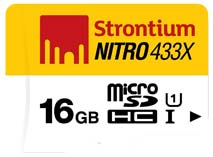 Best price on Strontium Nitro 433X 16GB MicroSDHC (65MB/s) UHS-1 Class 10 Memory Card in India