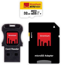 Best price on Strontium Nitro 466X 32GB MicroSDHC Class 10 (70MB/s) Memory Card (WIth Card Reader & Adapter) in India