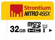 Best price on Strontium Nitro 466X 32GB MicroSDHC Class 10 (70MB/s) Memory Card (With Card Reader) in India