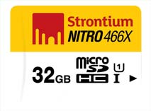 Best price on Strontium Nitro 466X 32GB MicroSDHC Class 10 (70MB/s) Memory Card in India