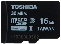 Best price on Toshiba 16GB MicroSDHC Class10 (30MB/s) Memory Card in India