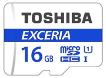 Best price on Toshiba Exceria 16GB MicroSDHC Class 10 (48MB/s) Memory Card in India