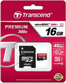 Best price on Transcend Premium 300x 16GB MicroSDHC Class 10 UHS-1 (45MB/s) Memory Card (With Adapter) in India
