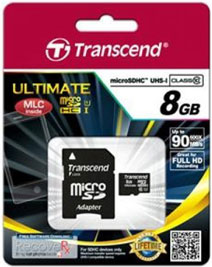 Best price on Transcend Ultimate 600x 8GB MicroSDHC Class 10 (90MB/s) UHS-1 Memory Card (With Adapter) in India