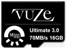 Best price on Vuze 16GB MicroSDHC Class 10 (70MB/s) Memory Card in India