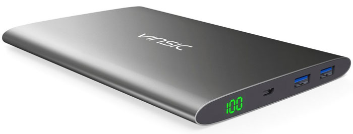 Best price on Vinsic 20000mAh Ultra-Slim Dual USB Power Bank in India