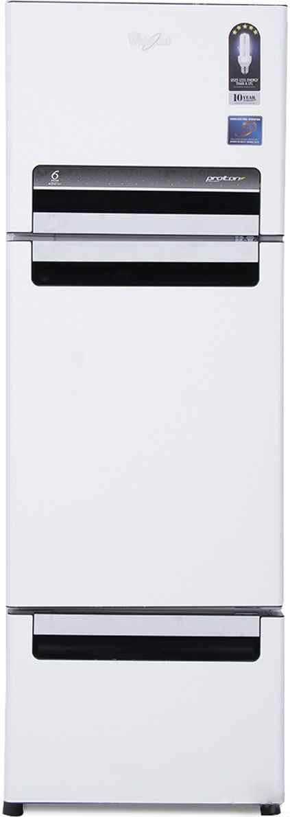 Best price on Whirlpool FP 263D Protton Royal 240 Litres Triple Door Refrigerator (Mirror Black/White) in India