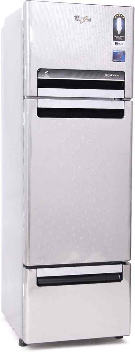 Best price on Whirlpool FP 283D PROTTON Royal (Steel Knight) 260 Litres Triple Door Refrigerator in India