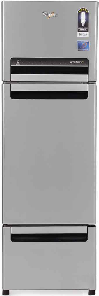 Best price on Whirlpool FP 343D Protton Royal (Steel Knight) 330 Litres Triple Door Refrigerator in India