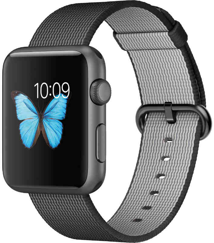 Best price on Apple Watch Space Gray Aluminum case with Black woven nylon Band 42mm in India
