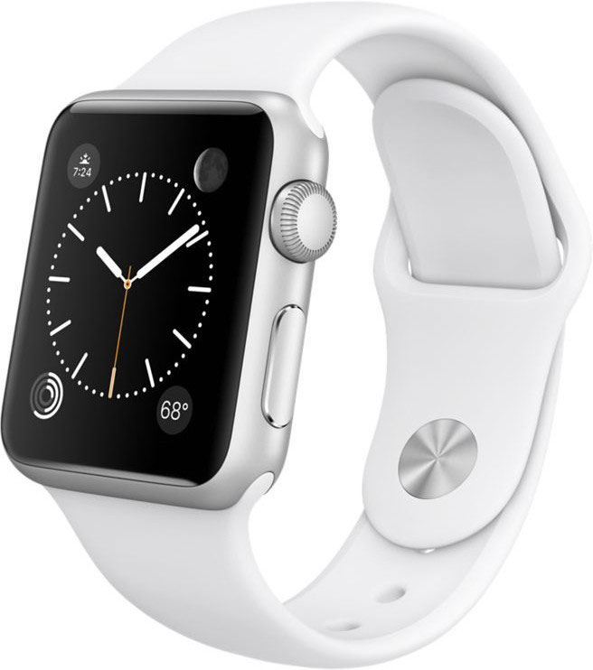Best price on Apple Watch Sport Silver Aluminium case white sport Band 38mm in India