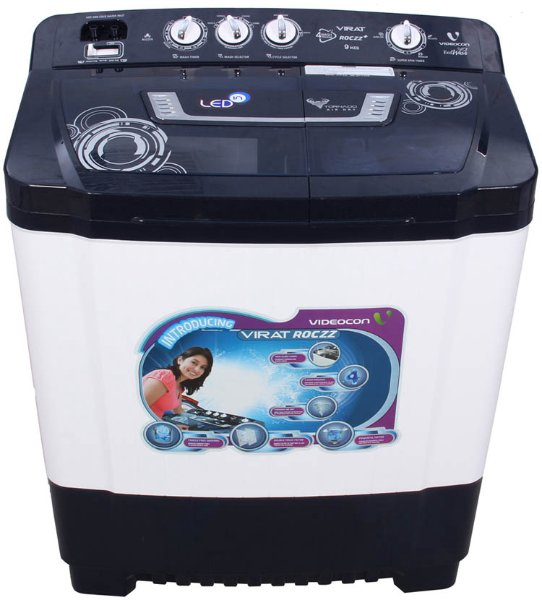 Best price on Videocon VS90P19 Virat Roczz+ 9 Kg Semi-automatic Top-loading Washing Machine in India